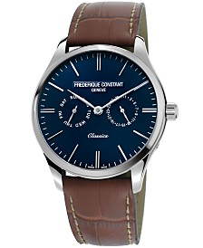Frederique Constant Men's Swiss Chronograph Classic Brown Leather Strap Watch 40mm