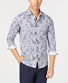 Tallia Men's Slim-Fit Navy Camo Print Dress Shirt