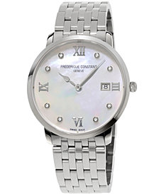 Frederique Constant Women's Swiss Slimline XL Diamond-Accent Stainless Steel Bracelet Watch 36mm