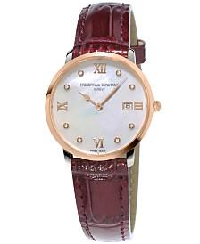 Frederique Constant Women's Swiss Slimline XL Diamond-Accent Red Patent Leather Strap Watch 36mm