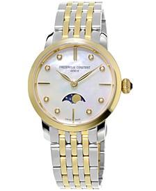 Women's Swiss Slimline Diamond-Accent Two-Tone Stainless Steel Bracelet Watch 30mm