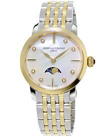 Frederique Constant Women's Swiss Slimline Diamond-Accent Two-Tone Stainless Steel Bracelet Watch 30mm