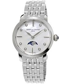 Women's Swiss Slimline Diamond-Accent Stainless Steel Bracelet Watch 30mm