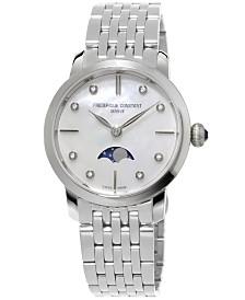 Frederique Constant Women's Swiss Slimline Diamond-Accent Stainless Steel Bracelet Watch 30mm