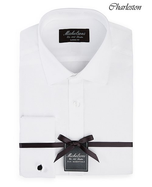 Michelsons of London Men's Classic/Regular Fit Solid French Cuff Tuxedo Shirt
