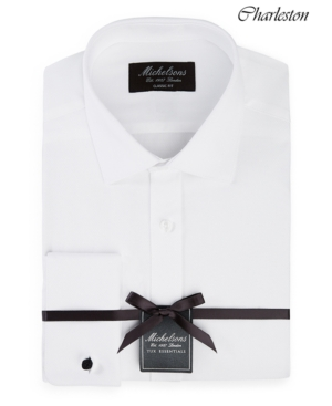 of London Men's Classic/Regular Fit Solid French Cuff Tuxedo Shirt