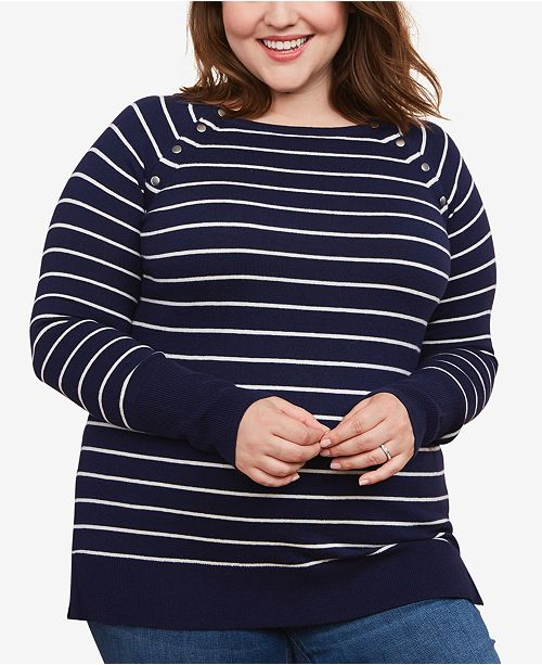 Motherhood Maternity Plus Size Striped Nursing Top