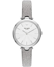 kate spade new york Women's Silver-Tone Leather Strap Watch 34mm