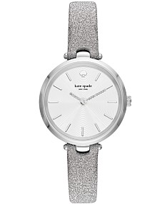1d2bf911d kate spade new york Women's Holland Silver-Tone Leather Strap Watch 34mm
