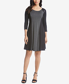 Karen Kane Faux-Leather-Trim A-Line Dress