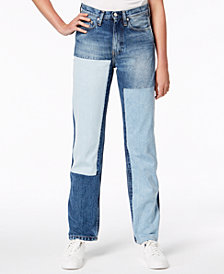 Calvin Klein Jeans Cotton Patched Straight-Leg Jeans