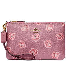 COACH Rose-Print Small Wristlet