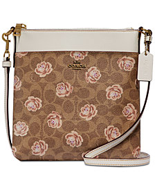 COACH Signature Rose-Print Messenger Crossbody