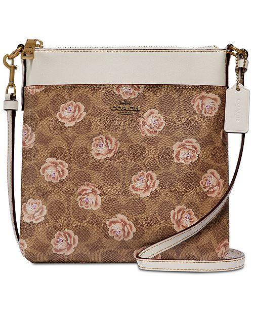 c3be1981f930c COACH Signature Rose-Print Messenger Crossbody   Reviews - Handbags ...
