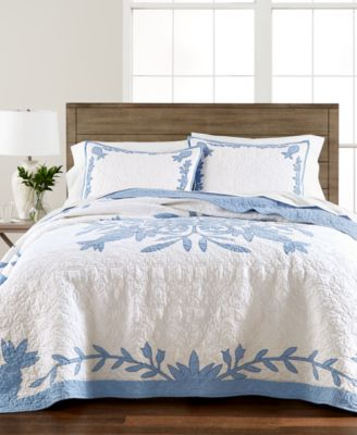 Aloha Blue Cotton Reversible Twin Quilt, Created for Macy's