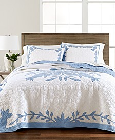 Aloha Blue Cotton Reversible Quilt and Sham Collection, Created for Macy's