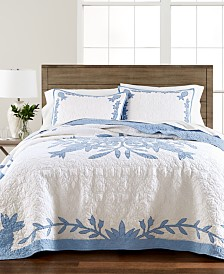 Martha Stewart Collection Aloha Blue Cotton Reversible Quilt and Sham Collection, Created for Macy's