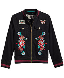 GUESS Big Girls Reversible Faux Fur Denim Bomber Jacket