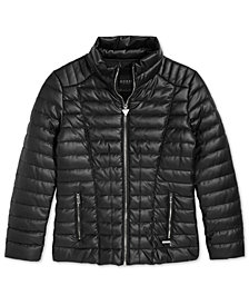 GUESS Big Girls Faux-Leather Puffer Jacket
