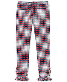 Tommy Hilfiger Big Girls Ruffle-Trim Houndstooth Ponté-Knit Pants