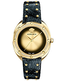 Versace Women's Swiss Shadov Diamond (1/3 ct. t.w.) Black Elaphe Leather Strap Watch 38mm