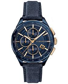 Men's Swiss Chronograph Glaze Blue Vintage Leather Strap Watch 44mm