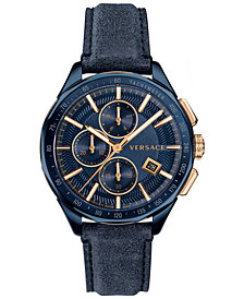 Versace Men's Swiss Chronograph Glaze Blue Vintage Leather Strap Watch 44mm