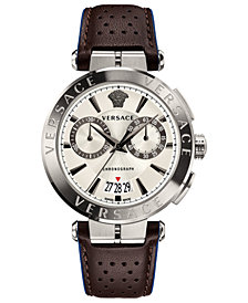 Versace Men's Swiss Chronograph Aion Brown Leather Strap Watch 45mm