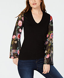 I.N.C. Petite Floral-Sleeve Sweater, Created for Macy's