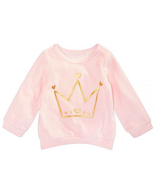 First Impressions Baby Girl Crown Graphic Velour Sweatshirt, Created for Macy's