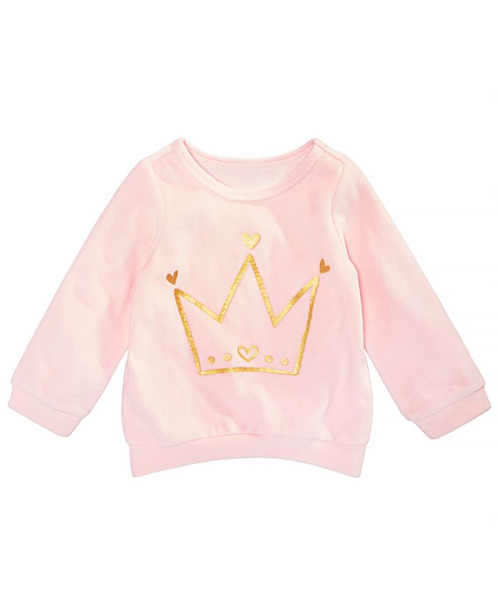 First Impressions - Baby Girl Crown Graphic Velour Sweatshirt