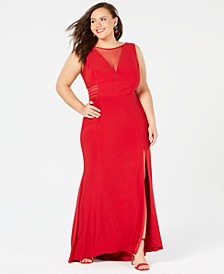 Plus Size Mesh-Inset Gown