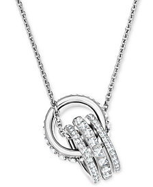 "Swarovski Crystal Interlocking Loop 16-1/2"" Pendant Necklace"