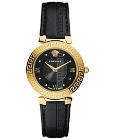 Versace Women's Swiss Daphnis Black Leather Strap Watch 35mm