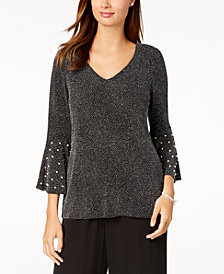 MSK Embellished Bell-Sleeve Metallic Top