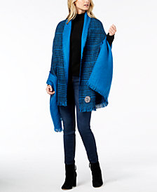 DKNY Houndstooth Plaid Oversized Woven Wrap
