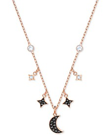 "Two-Tone Crystal Moon & Stars 13-1/4"" Pendant Necklace"