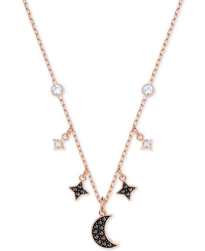 "Swarovski - Two-Tone Crystal Moon & Stars 13-1/4"" Pendant Necklace"