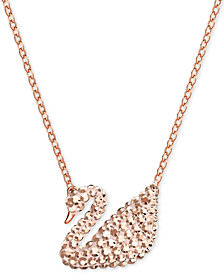 Swarovski Rose Gold-Tone Crystal Swan 14-3/4 Pendant Necklace