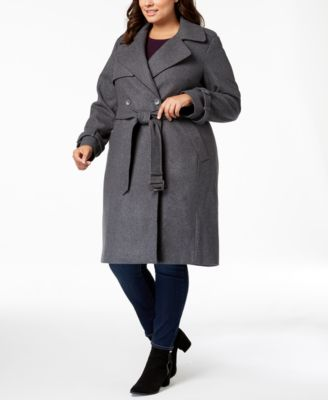 Plus Size Double-Breasted Coat, Created for Macy's