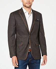 Tallia Orange Men's Slim-Fit Brown Textured Sport Coat