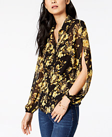 I.N.C. Floral-Print Split-Sleeve Top, Created for Macy's