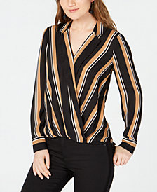 I.N.C. Striped Faux-Wrap Top, Created for Macy's