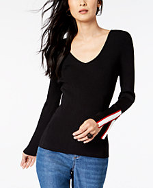 I.N.C. Petite V-Neck Split Sleeve Sweater, Created for Macy's