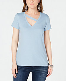 I.N.C. Cutout V-Neck T-Shirt, Created for Macy's