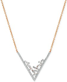 "Baguette Frenzy™ Diamond V 18"" Statement Necklace (3/8 ct. t.w.) in 14k Rose Gold"