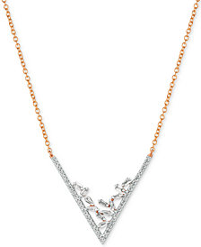 "Le Vian® Baguette Frenzy™ Diamond V 18"" Statement Necklace (3/8 ct. t.w.) in 14k Rose Gold"