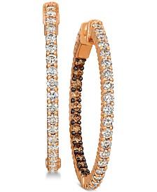Le Vian® Diamond In & Out Hoop Earrings (2 ct. t.w.) in 14k Rose Gold