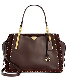 Border Rivets Leather & Suede Dreamer 36 Satchel