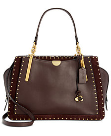 COACH Border Rivets Leather & Suede Dreamer 36 Satchel